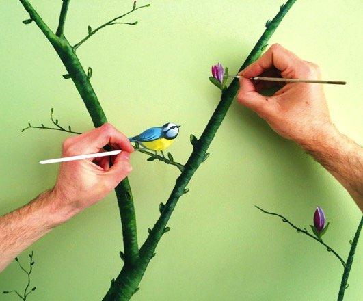 Snijder & Co- schilderen van vogels- kunstige muren