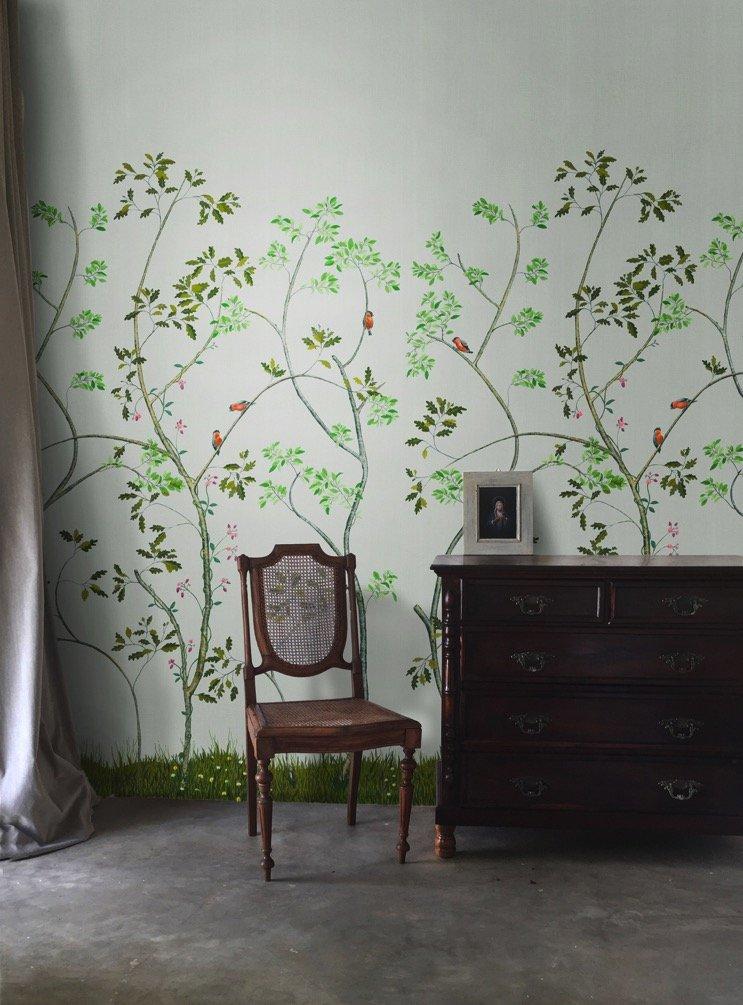 kunstige muren- Snijder&CO- stoel met kast en bloemenbehang
